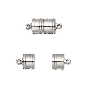 clasp, magnetic, silver-finished brass, 11.5x8mm ribbed barrel. sold individually.
