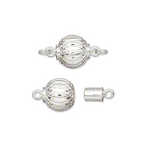 clasp, magnetic, silver-plated brass, 10mm corrugated round. sold individually.