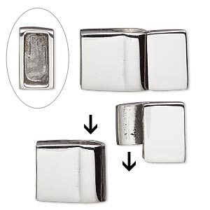 clasp, magnetic slide lock, stainless steel, 22x13mm shiny rectangle with glue-in ends, 10x4.5mm inside diameter. sold individually.