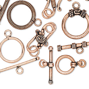 clasp mix, s-hook and toggle, antique copper-plated copper, 19x14mm-52x44mm. sold per pkg of 20.