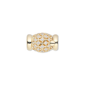 clasp, multi-strand tab, diamond (natural) and 14kt gold, 16x10mm barrel with faceted round. sold individually.