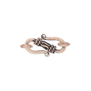 clasp, s-hook, antique copper-plated copper, 19mm with rope design with (2) 7mm jumprings. sold per pkg of 8.