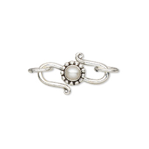 clasp, s-hook, cultured freshwater pearl (bleached) and sterling silver, white, 20.5x8mm with 4mm round and 2 rings. sold individually.