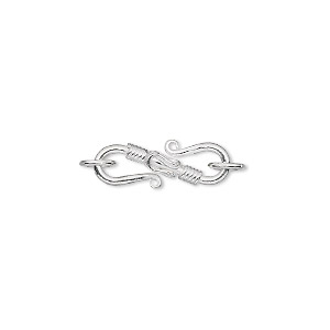 clasp, s-hook, sterling silver, 20x8mm with rope design and (2) 6mm soldered jumprings. sold individually.