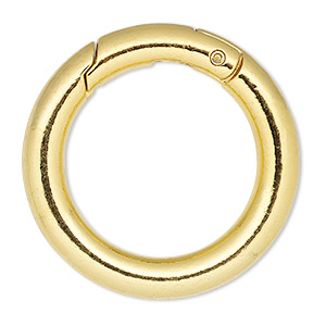 clasp, self-closing hook, gold-finished steel and pewter (zinc-based alloy), 37mm round, 6mm thick. sold per pkg of 2.