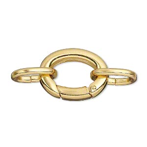 clasp, self-closing hook, gold-plated brass, 20x16mm with (2) 14x10mm oval jumprings. sold per pkg of 2.