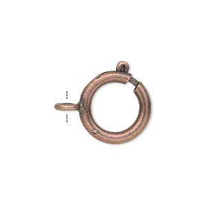 clasp, springring, antique copper-finished brass, 16mm round. sold per pkg of 12.