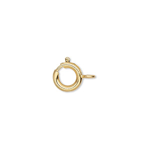 clasp, springring, gold-finished brass, 9mm. sold per pkg of 10.