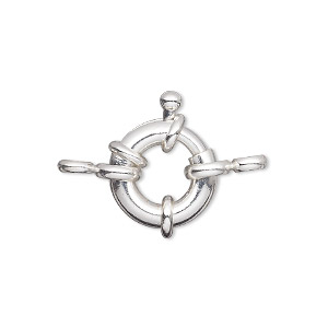 clasp, springring, silver-plated brass, 15mm nautical design with loop. sold per pkg of 10.