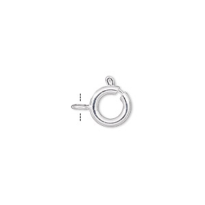 clasp, springring, silver-plated brass, 9mm. sold per pkg of 480.