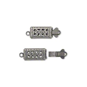 clasp, tab, antique silver-plated brass, 11x6mm double-sided filigree rectangle. sold per pkg of 10.