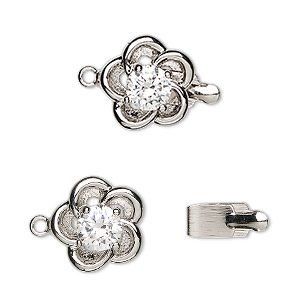 clasp, tab, cubic zirconia and rhodium-plated brass, clear, 13x13mm flower with swirl and 6mm faceted round. sold individually.