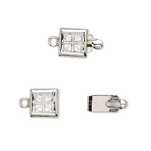 clasp, tab, cubic zirconia and rhodium-plated brass, clear, 8x8mm square. sold individually.
