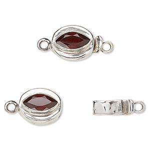 clasp, tab, garnet (natural) and sterling silver, 12x10mm oval with 9x5mm faceted marquise. sold individually.