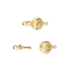 clasp, tab, gold-finished brass, 8mm corrugated ball. sold per pkg of 100.