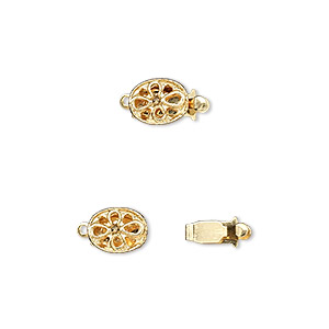 clasp, tab, gold-plated brass, 8x6mm oval flower. sold per pkg of 10.