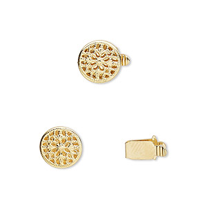 clasp, tab, gold-plated brass, 9mm filigree round. sold per pkg of 100.