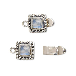 clasp, tab, rainbow moonstone (natural) and antiqued sterling silver, 11x11mm square with 6x6mm domed square. sold individually.