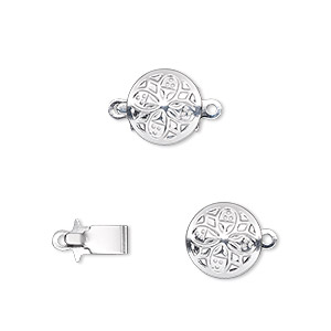 clasp, tab, silver-plated brass, 10mm round. sold per pkg of 100.