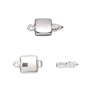clasp, tab, silver-plated brass, 8x8mm puffed flat square. sold per pkg of 2.