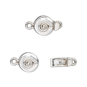 clasp, tab, sterling silver, 10mm round with spiral. sold individually.