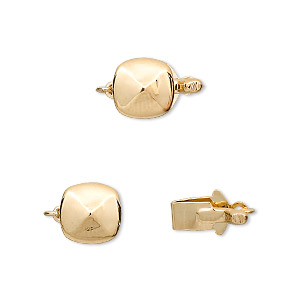 clasp, tab, vermeil and gold-plated brass, 9mm four-facet flat round. sold individually.