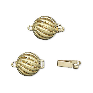 clasp, tab with safety, 14kt gold, 11mm twisted round. sold individually.