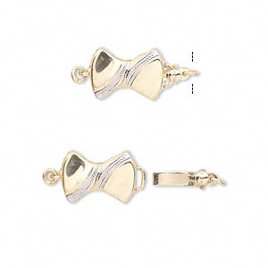 clasp, tab with safety, 14kt gold and 14ktw white gold, 13x9mm double-sided bow. sold individually.
