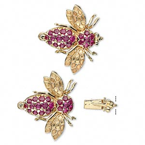 clasp, tab with safety, ruby (heated) and 14kt gold, 23x20mm bee with faceted round sold individually.