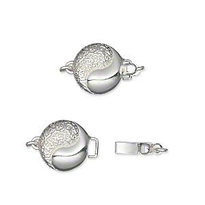 clasp, tab with safety, silver-plated brass, 11mm double-sided textured flat round with yin-yang design. sold individually.
