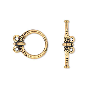 clasp, tierracast, 2-strand toggle, antique gold-plated pewter (tin-based alloy), 15.5mm fancy round. sold individually.
