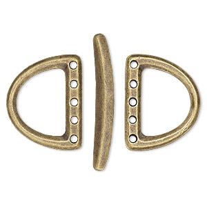 clasp, tierracast, 5-strand toggle, antique brass-plated pewter (tin-based alloy), 24x19mm d-ring. sold per 3-piece set.