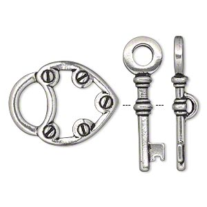 clasp, tierracast, toggle, antique silver-plated pewter (tin-based alloy), 25x19.5mm double-sided lock and key. sold individually.