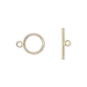 clasp, toggle, 14kt gold-filled, 11mm round. sold individually.