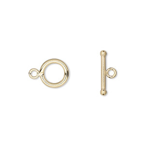 clasp, toggle, 14kt gold-filled, 9mm round. sold individually.