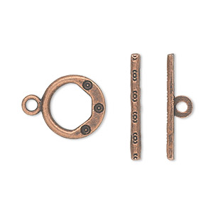 clasp, toggle, antique copper-plated pewter (zinc-based alloy), 13mm single-sided round. sold per pkg of 20.