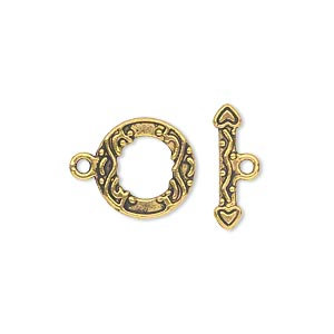 clasp, toggle, antique gold-finished pewter (zinc-based alloy), 13mm double-sided round. sold per pkg of 20.