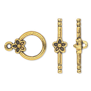 clasp, toggle, antique gold-finished pewter (zinc-based alloy), 14mm single-sided round with flower. sold per pkg of 10.