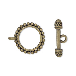 clasp, toggle, antique gold-finished pewter (zinc-based alloy), 18mm double-sided beaded round. sold per pkg of 8.