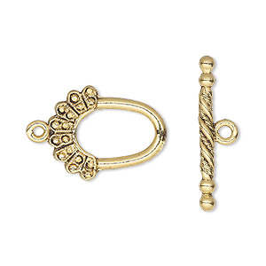 clasp, toggle, antique gold-plated pewter (tin-based alloy), 20x16mm oval. sold per pkg of 2.