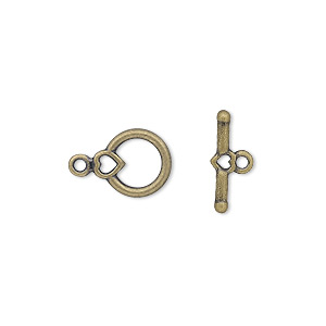 clasp, toggle, antique gold-plated pewter (zinc-based alloy), 10x9mm round with heart. sold per pkg of 100.
