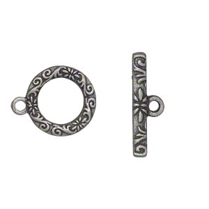 clasp, toggle, antique silver-finished pewter (zinc-based alloy), 17mm single-sided round with vine and flower design. sold per pkg of 8.