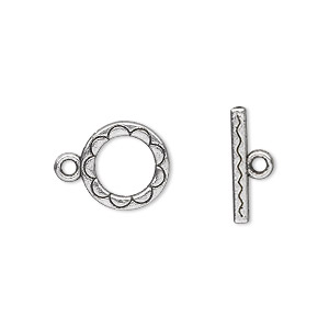 clasp, toggle, antique silver-plated pewter (zinc-based alloy), 12mm double-sided round with scalloped design. sold per pkg of 20.