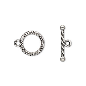 clasp, toggle, antique silver-plated pewter (zinc-based alloy), 13mm double-sided round with rope design. sold per pkg of 20.