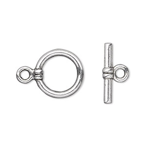 clasp, toggle, antique silver-plated pewter (zinc-based alloy), 15mm double-sided round. sold per pkg of 20.