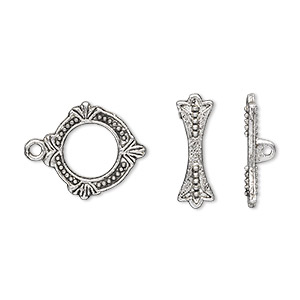clasp, toggle, antique silver-plated pewter (zinc-based alloy), 15x14mm double-sided round. sold per pkg of 20.