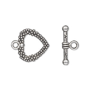 clasp, toggle, antique silver-plated pewter (zinc-based alloy), 16x16mm double-sided beaded heart. sold per pkg of 500.