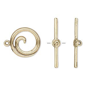 clasp, toggle, antiqued brass, 15.5mm round swirl. sold individually.