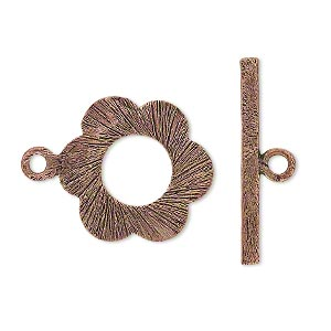 clasp, toggle, antiqued copper, 21x19mm double-sided textured flower. sold per pkg of 4.