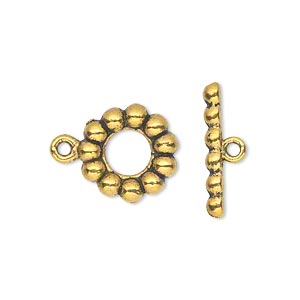 clasp, toggle, antiqued gold-finished pewter (zinc-based alloy), 14mm single-sided beaded round. sold per pkg of 20.